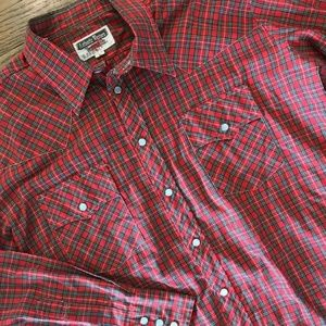 VTG 70s Western Youngbloods Plaid Rodeo Shirt L
